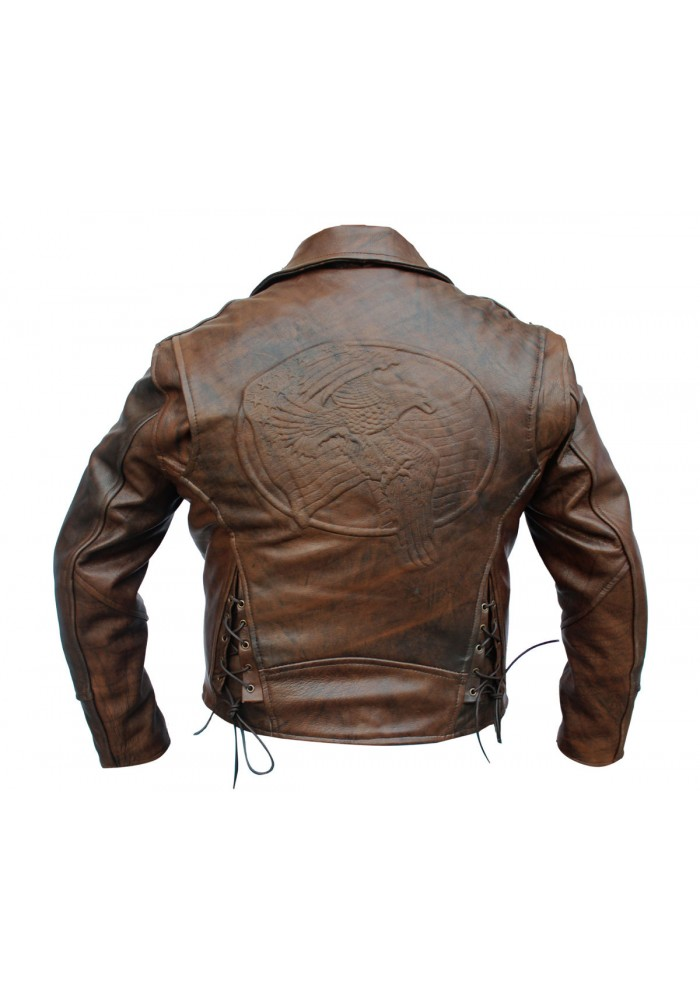 mens distressed brown flying eagle leather jacket
