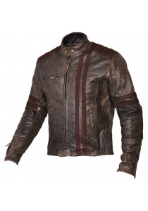 Men's Biker Vintage Motorcycle Cafe Racer Style Distressed Leather Jacket