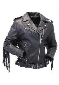 Ladies Stud And Fringe Classic Biker Leather Jacket
