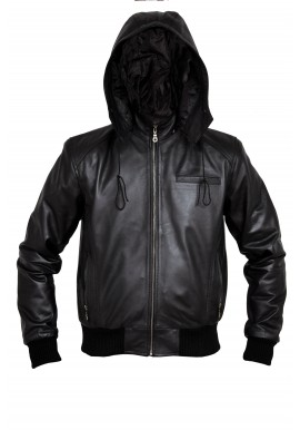 Men's Bomber Leather Jacket with zip-out hood