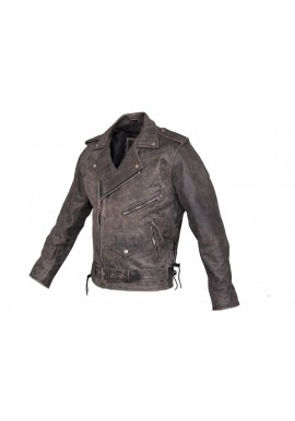 Men's Distressed Belted Brando Motorcycle Leather Jacket