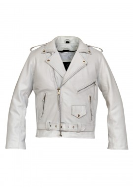 Men's White Belted Brando Motorcycle Leather Jacket