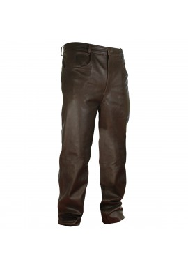 Men's Classic Jean Style Brown Leather Pant