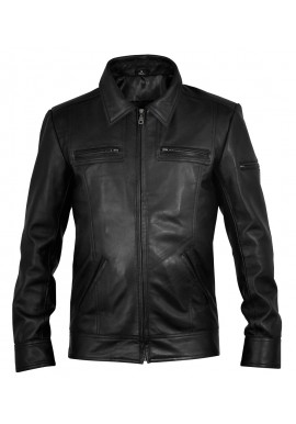 Classic Mens Black Leather Jacket