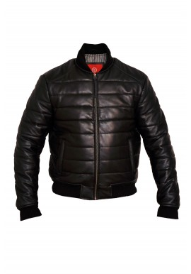 Mens Down Bomber Leather Jacket