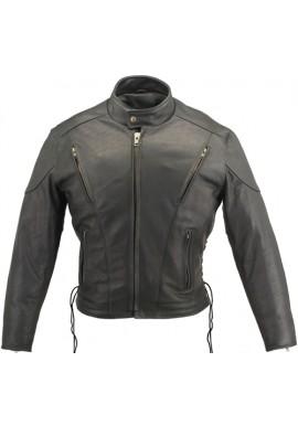 Men's Vented Classic Biker Leather Jacket
