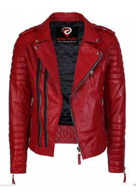 Mens Red Quilted Motorcycle Leather Jacket