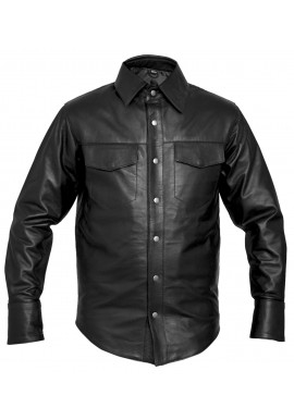 Black Long Sleeve Lamb Leather Shirt