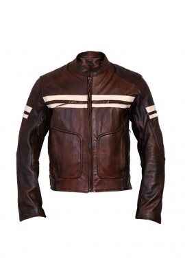 Men's Vintage Brown Classic Stripped Cruiser Leather Motorcycle Jacket