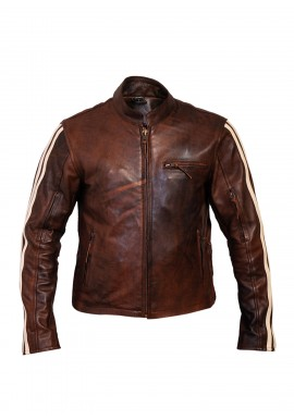 Men's Retro Brown Classic Stripped Cruiser  Leather Motorcycle Jacket