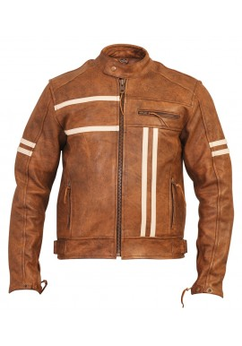 Men's Vintage Brown Stripped Cruiser Motorcycle Leather Jacket