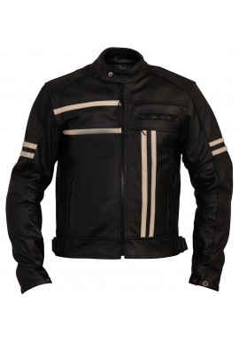 Men's Black Stripped Cruiser Leather Motorcycle Jacket