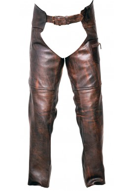 Unisex Classic Vintage Brown Biker Leather Chap