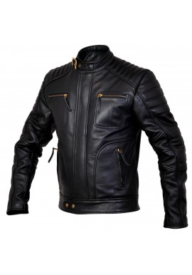Mens Designer Weybridge Black Leather Jacket