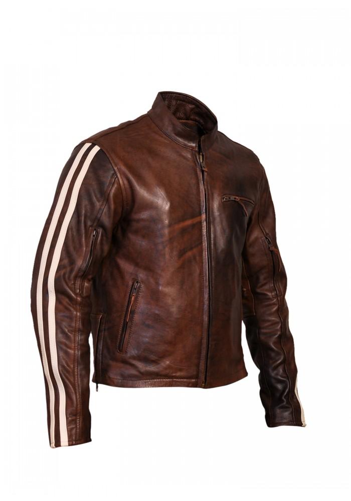 Men S Retro Brown Classic Stripped Cruiser Leather