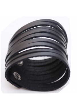 Black Stripped Leather Wrist Band