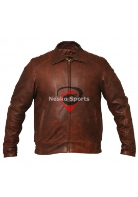 New Mens Vintage Brown Bomber Flight Leather Jacket