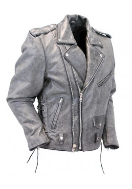 Men's Distressed Gray Motorcycle Leather Jacket