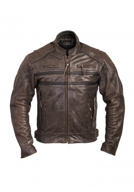 Men's Classic Vintage Motorcycle Cafe Racer Style Distressed Leather Jacket