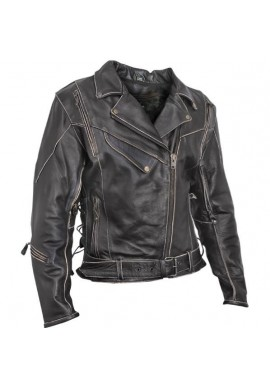Women's Antique-Brown Rub-Off Motorcycle Leather Jacket