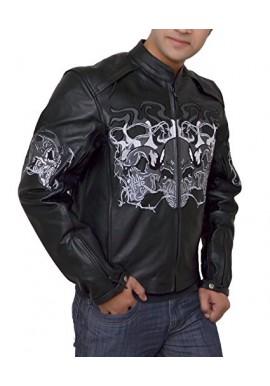 Leather Reflective Evil Triple Flaming Skull Motorcycle Jacket
