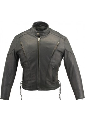 Men's Vented Classic Biker Leather Jacket