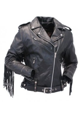 Ladies Stud And Fringe Classic Biker Leather Jacket