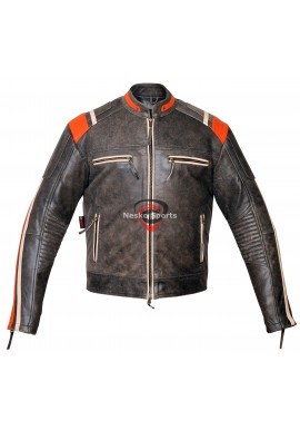 New Mens Distressed Gray Biker Motorcycle Leather Jacket With Orange Stripes