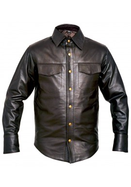 Brown Long Sleeve Lamb Leather Shirt
