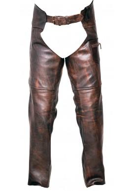 Unisex Classic Vintage Brown Biker Leather Chap