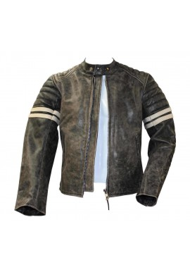 Men's Vintage Fight Club Stripped Motorcycle Leather Jacket